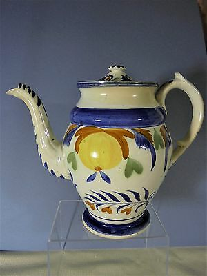 Antique 18th Century Large Leeds Coffeepot With Gooseneck Spout
