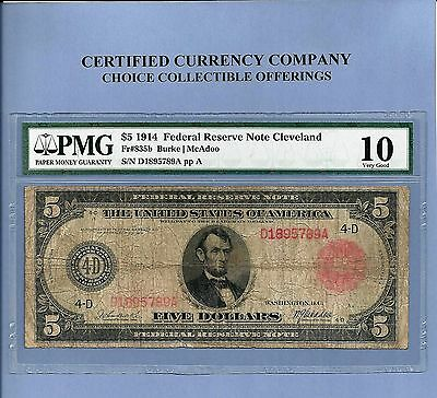 1914 $5 Red Seal Cleveland Ohio FR 835-B Fed Reserve Note PMG VG 10