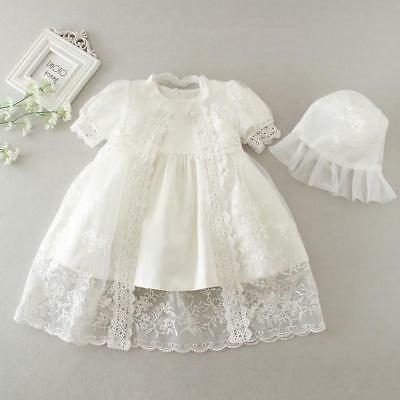 Embroidery Christening Baby Newborn Kid Lace Baptism Dress with Bonnet 3/6/12 M