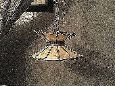 Antique Brass Leaded Stained SLAG GLASS Hanging Ceiling Lamp