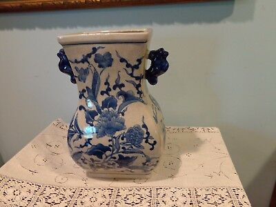 Antique? Vintage Chinese Asian Blue and White Porcelain Vase Man Flowers Handles