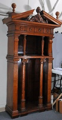 Awesome 19Th C Antique Ornately Carved 8' Tall Oak Book Case With 4 Shelves