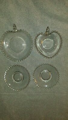 Clear Glass Imperial Candlewick 2 Saucers And  Nappy 7 1/2 + Nappy 6 1/4
