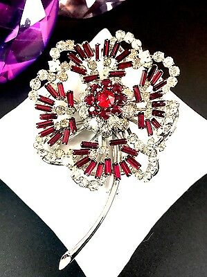 Fabulous 1950'S Silver-Tone Ruby Red Baguette Crystal Rhinestone Floral Brooch