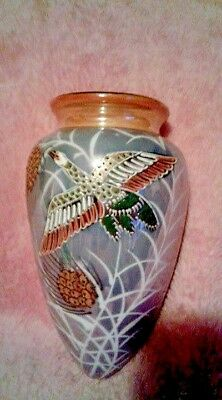 Vintage Wall Pocket Vase Moriage Bird Opalescent  Luster Ware Porcelain Japan