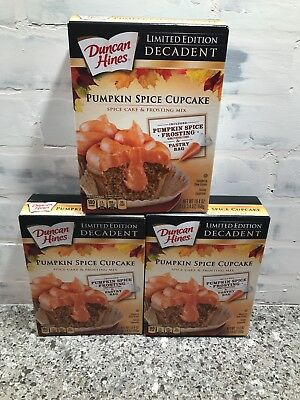 LOT OF (3) NEW Duncan Hines Pumpkin Spice Cupcake Mix 19.4 oz INCLUDES FROSTING