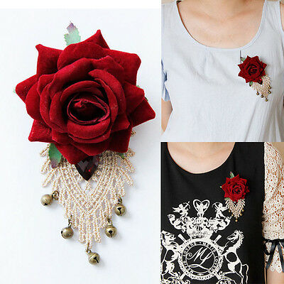 Sexy Red Rose Flower Brooches Pin for Woman Lace Collar Clip Costume Accessory