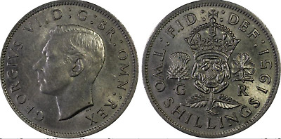 1951 UK (British) George VI Coin - Florin - Two Shilling - PCGS MS62 - SWEET!