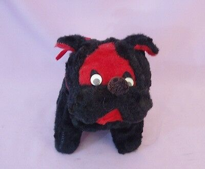 1950s BLACK & RED PLUSH BULL DOG w FLIRTY EYES