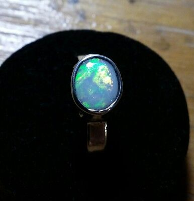 handcrafted semi crystal opal ring .  925 Stirling silver. Solid opal . Natural