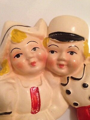 Vintage Dutch Boy And Girl Chalkware