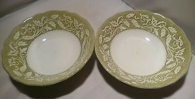 J&G Meakin Victoria Ironstone Royal Staffordshire 2 CEREAL BOWLS Green/White