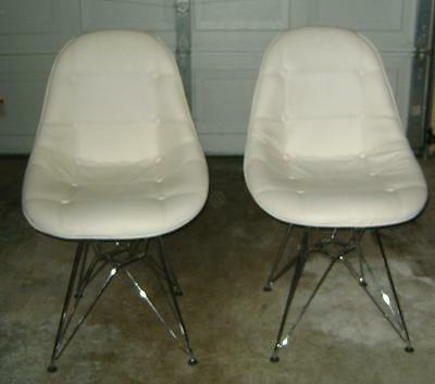 Vtg Pair of 1960's Eames Era White Eiffel Chairs! Tucked Pleather Covers!