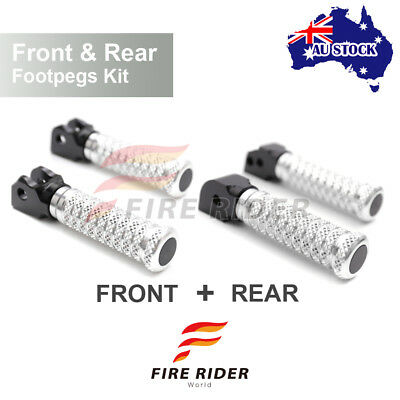 For MV Agusta F4 All Year Front + Rear Pair Silver CNC Pole Footpegs