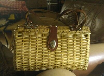 Marcus Brothers Made In British Hong Kong Vintage Woven Wicker Straw Bag 50S 60S