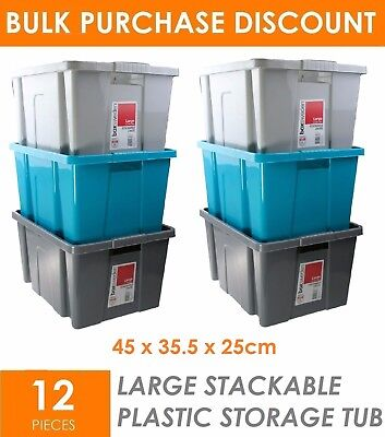 12 x 40L STACKABLE Large Plastic Storage Tubs - Crates Containers Boxes Bin Box