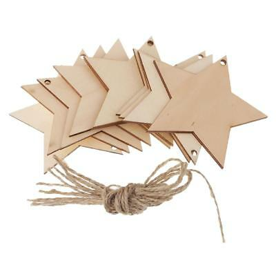 10pcs MDF Wooden five-pointed star Shapes Tags 80x80mm with Hole Wood Crafts