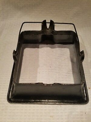 Griswold Cast Iron No. 11 Square Waffle Iron Base High w/ bail handle PN 163
