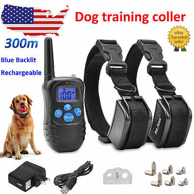 300M Remote Dog Electric Waterproof Shock Vibration Training Collar Stop Bark US