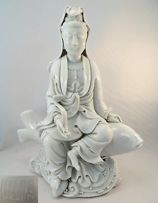 Antique 19th C. Porcelain Chinese Dehua Guanyin & Fish Statue Blanc de Chine 11""