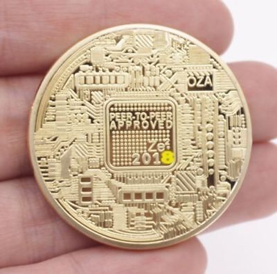 New 2018 Bitcoin Physical Collectible Coin BTC Gold Plated 1 Ounce 40mm Hot