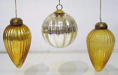 "3 Antique Kugel Heavy Glass Ribbed Ornaments - 3"" Silver Ball & 4½"" Gold Cones"