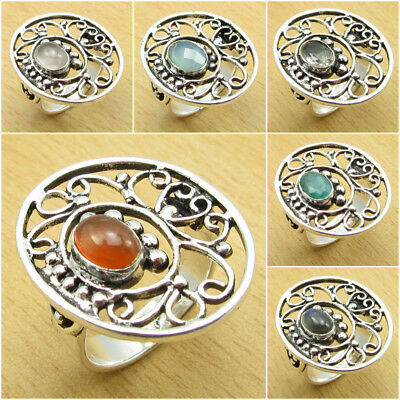 925 Silver Plated Jewelry, CARNELIAN & Other Variety of STONES, OLD STYLE Ring
