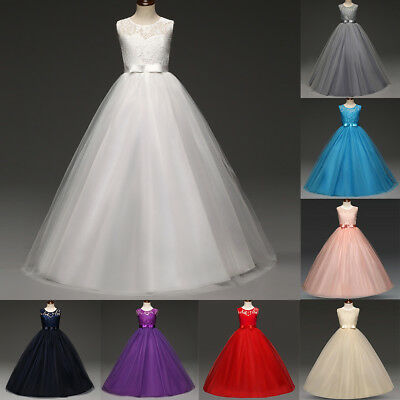 Lace Flower Girl Dress Maxi Long Formal Ball Gown for Kids Wedding Bridesmaid