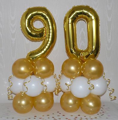 AGE 90 90th BIRTHDAY TABLE CENTREPIECE FOIL BALLOON DISPLAY GOLD// WHITE