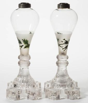 FREE-BLOWN AND PRESSED PAIR OF WHALE OIL LAMPS Lot 212