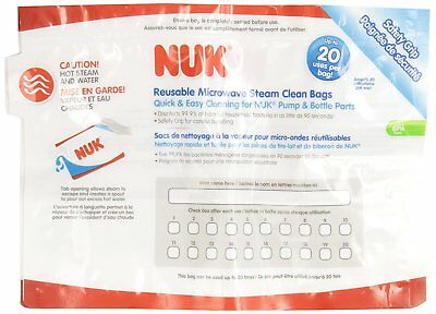 * NUK Microwave Reusable Steam Clean Bags, 6 Count