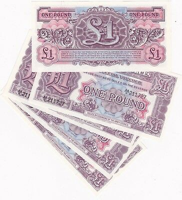 5 Consecutive £1 2Nd Series Mint Condition Military Armed Forces Banknotes