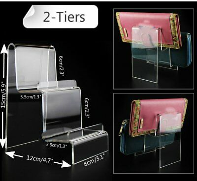 "2x 3.1"" Width 2-Tiers Acrylic Retail Display Aid Case Wallet Holder Easel Stand"