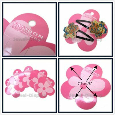 200 x Pink Floral Fower Hairclip Hang Card Accessory Retail Jewelry Display