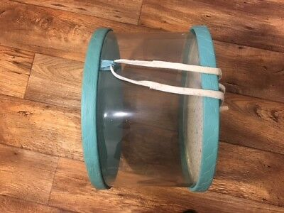 PRINCESS HOUSE vintage large acetate hat box - clear w/ turquoise quilted 15.5""