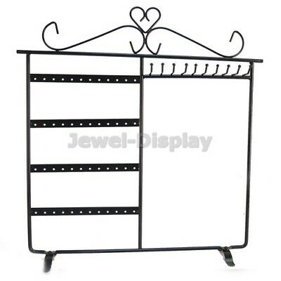 Black Hold 48 Earrings 10 Necklaces Stand Jewelry Retail Display Holder Stand