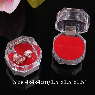 Lot of 10 Crystal Clear Ring Box Jewelry Gift Boxes Case Tray Red Inside