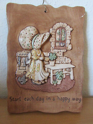 Fab Rare Vintage Retro Holly Hobbie*start Each Day In A Happy Way* Wall Plaque