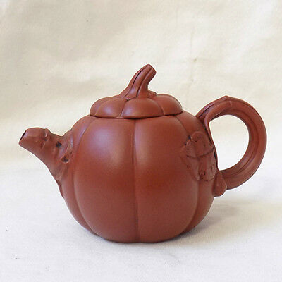 Chinese Asian Clay Teapot Marked Pumpkin Shape FREE SHIPPING US SELLER