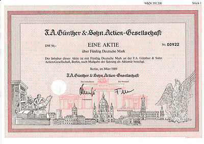 F.A. Günther & Sohn AG Berlin alte Aktie 1989 mit Kupons Immobilien Leipzig