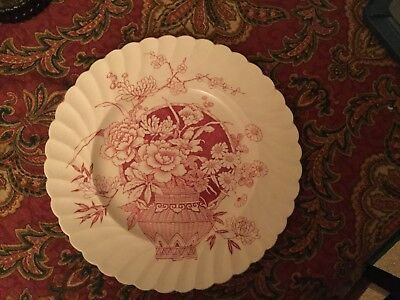 """Vintage Clarice Cliff 10"""" Newport Pottery Ophelia Red Pattern Dinner Plate"""