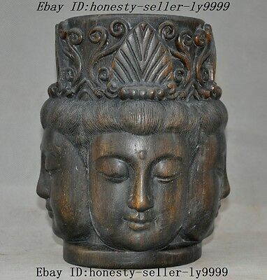 "8"" Rare chinese old wood hand carved 4 faces Kwan-Yin Guanyin buddha head statue"