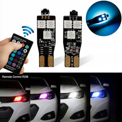 T10 W5W Canbus RGB Multi-color LED Side Wedge Light Bulb Car Remote Control Lamp