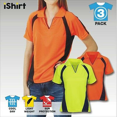 3 X Ladies Hi Vis Polo Work Shirt Cool Dry Breathable Side Panel Workwear S/s