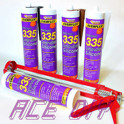 Everbuild Premium 335 Construction Silicone C3 295 ml Curing Sealant with Gun