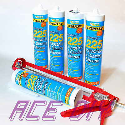 Everbuild 225 Industrial & Glazing Silicone C3 | Quick Drying Sealant with Gun