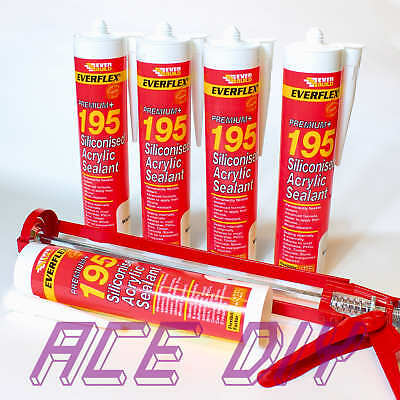 Siliconised Acrylic Sealant  WITH gun C3 300 ml Everbuild Premium 195 White Glue