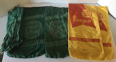 Vintage Lot Of 5 Burpee Seeds Sack Bag Yellow Red Green