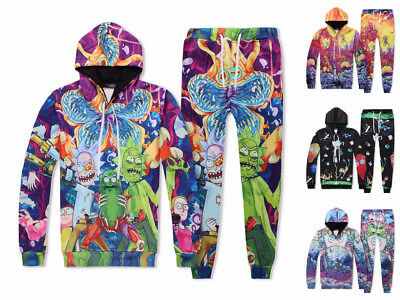 Rick and Morty Full Printed Hooded Sweater Unisex Sportswear Anime Cos 4 Style