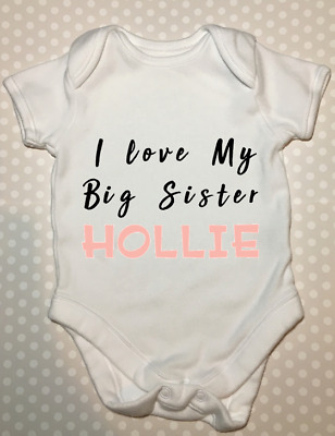 Personalised i love my big sister baby grow vest body suit baby shower gift